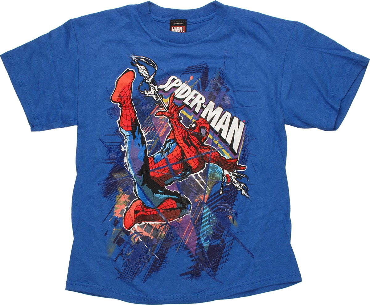 spiderman lines through blue youth t shirt. Black Bedroom Furniture Sets. Home Design Ideas