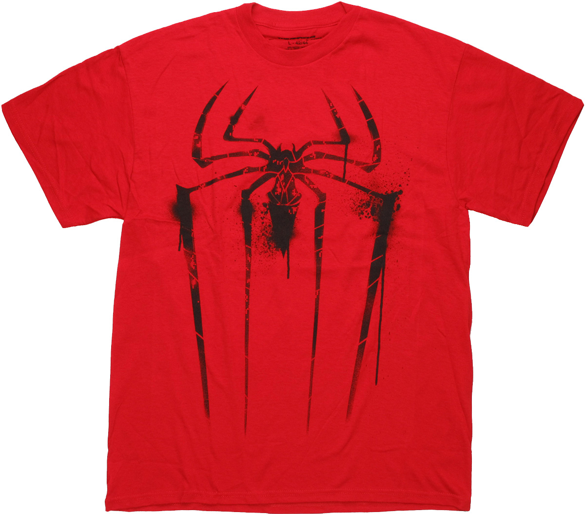 spiderman logo infested red spray t shirt. Black Bedroom Furniture Sets. Home Design Ideas