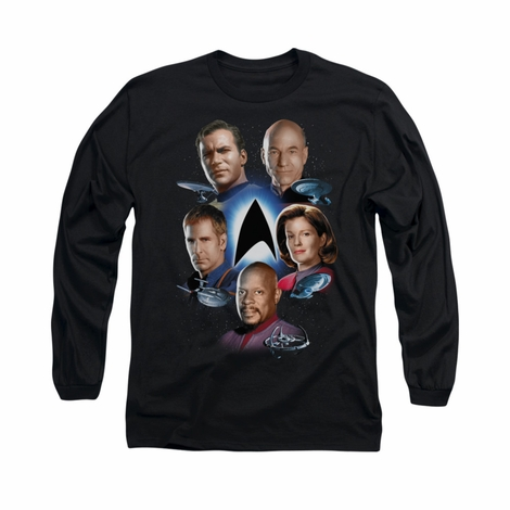 Star Trek Captains Around Logo Long Sleeve T Shirt