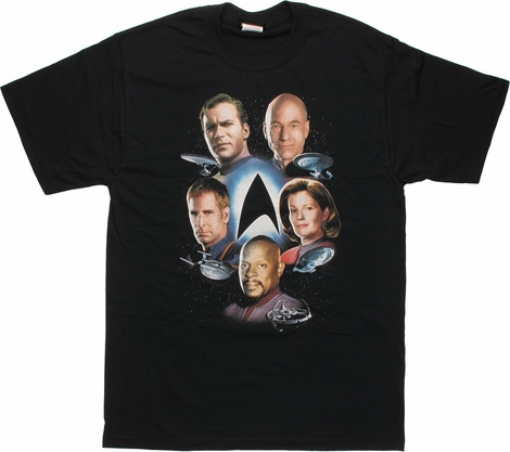 Star Trek Captains Around Logo T Shirt