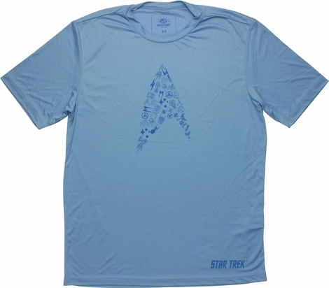 Star Trek Collage Blue Running T Shirt Sheer