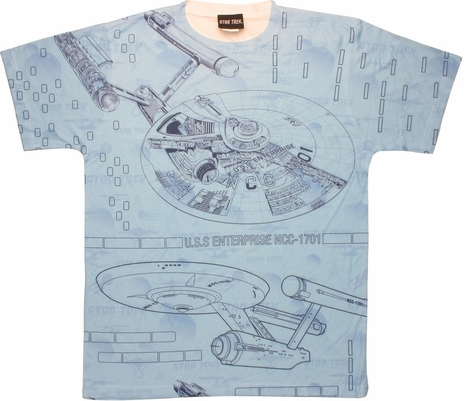 Star Trek Enterprise Blueprints Sublimated T Shirt