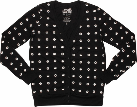 Star Wars All Over Logo Junior Cardigan Sweater