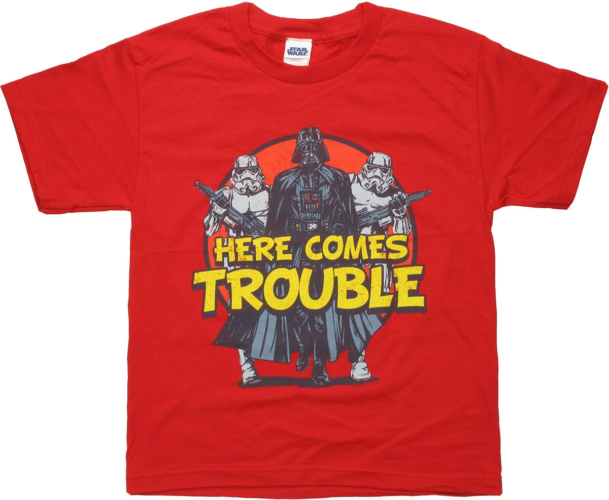 star wars here comes trouble youth t shirt. Black Bedroom Furniture Sets. Home Design Ideas