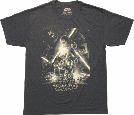 Star Wars The Force Awakens Mono Poster T-Shirt
