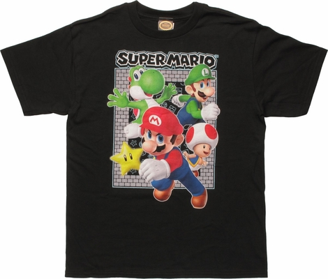 Super Mario Gang Brick Frame Youth T-Shirt