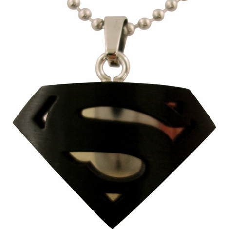 Superman Black Steel Logo Necklace