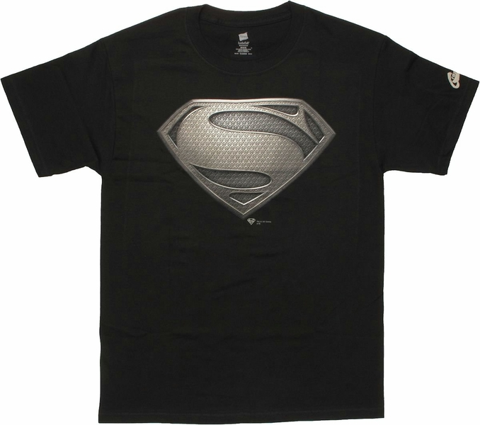 Superman Man of Steel Logo Black T Shirt - StylinOnline.com
