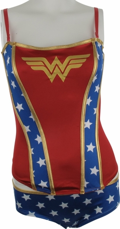 Wonder Woman Logo Corset Brief Lingerie Set