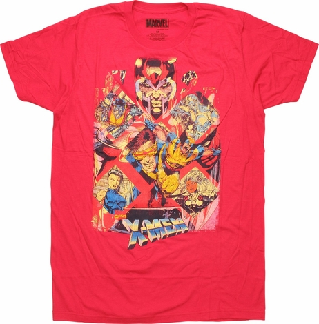 X Men Characters in an X Pattern T-Shirt Sheer