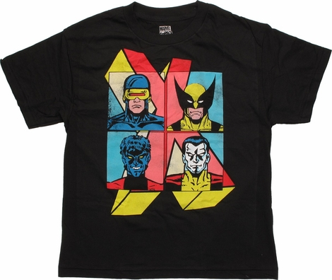 X Men Heroes Squares X Logo Youth T-Shirt