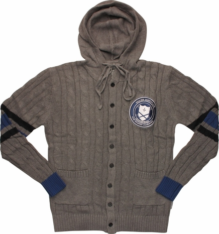 X Men Xavier Institute Cable Knit Hooded Cardigan