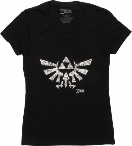 Zelda Hyrule Logo V Neck Juniors T-Shirt