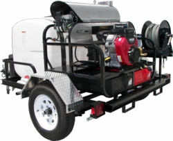 Pressure Pro TR6012PRO-35HG Hot Water Trailer (5.5 GPM @ 3500 PSI) with GX630 engine, HP pump made by General, 12VDC Beckett burner