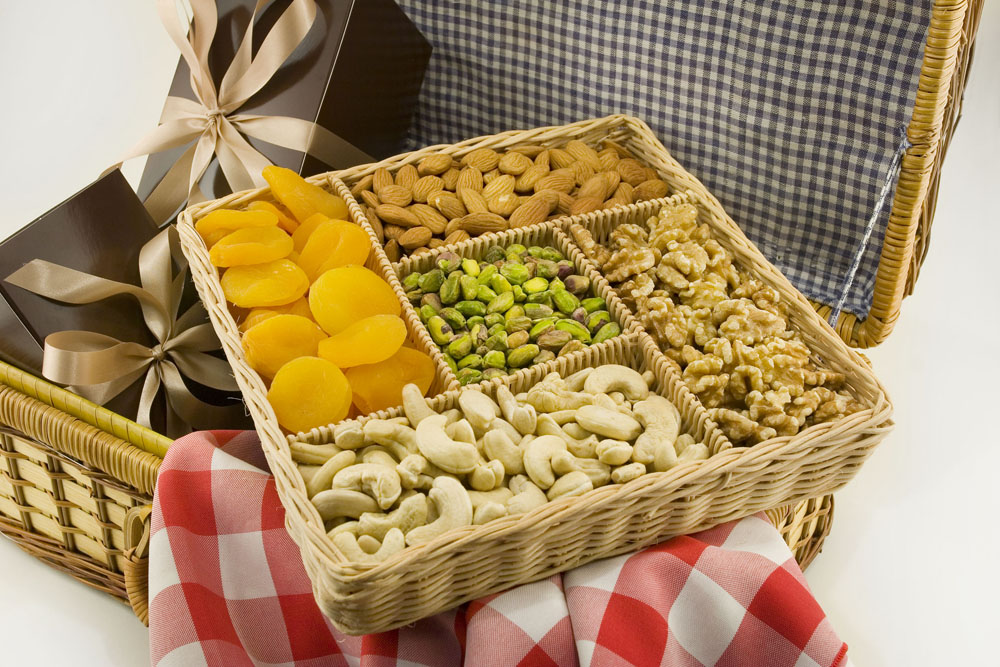 Natural Nut Gift Baskets, Fruit & Nut Baskets with Free Shipping