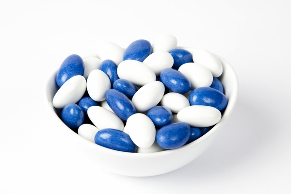 Blue and White Jordan Almonds (10 Pound Case)