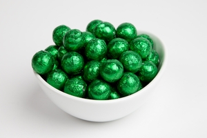 Green Foiled Milk Chocolate Balls (10 Pound Case)
