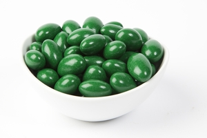 Kelly Green Chocolate Jordan Almonds (10 Pound Case)