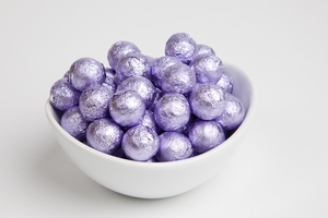 Lavender Foiled Milk Chocolate Balls (10 Pound Case)