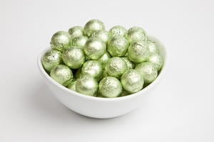 Leaf Green Foiled Milk Chocolate Balls (10 Pound Case)