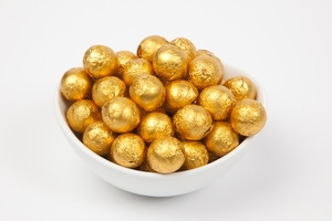Orange Foiled Milk Chocolate Balls (10 Pound Case)