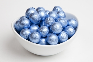 Pastel Blue Foiled Milk Chocolate Balls (10 Pound Case)