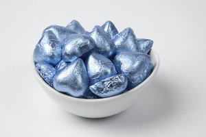 Pastel Blue Foiled Milk Chocolate Hearts (10 Pound Case)