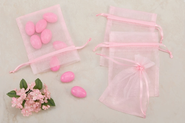 Pink Sheer Organza Party favor Bags (Pack of 10)