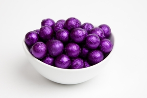 Purple Foiled Milk Chocolate Balls (10 Pound Case)
