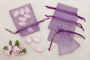Purple Sheer Organza Party favor Bags (pack of 10)