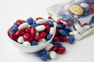 Red, White and Blue Jordan Almonds (1 Pound Bag)