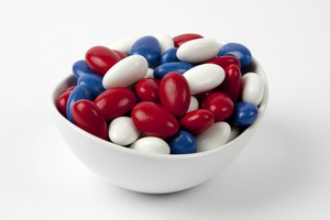 Red, White and Blue Jordan Almonds (5 Pound Bag)