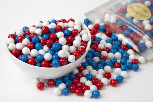 Red, White and Blue Sixlets (1 Pound Bag)