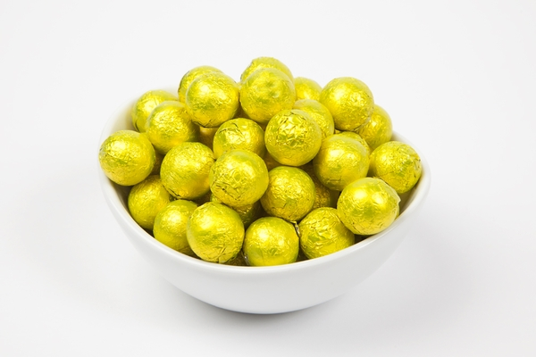 Yellow Foiled Milk Chocolate Balls (5 Pound Bag)
