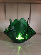 Art Glass Candle Holder Green