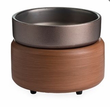 NEW - Ceramic Warmer & Dish Walnut/Pewter