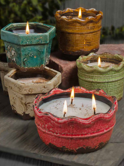ruffled pottery candles