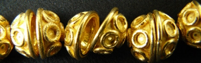 Bead Cap - 10mm - 40 Beads - 24kt. Gold Over Copper<br>GCBK1007