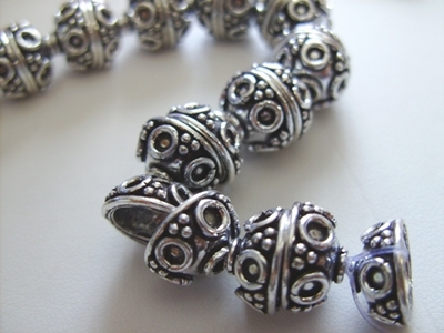 Bali Style Bead Cap - 10mm - 30 Caps - .999 Silver Over Copper