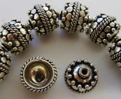 Bali-Style Bead Cap - 10mm - 36 Caps - .999 Silver Over Copper