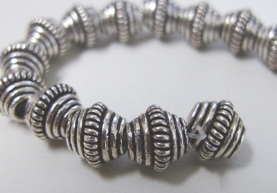 Coil Center Bi-Cone - 10mm - 23 Beads - .999 Pure Silver Over Copper<br>SCBK18