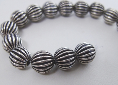 Corrugated Bead - 10mm - 20 Beads - .999 Silver Over Copper<br>SCBK69