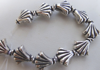 Fan Bead - 10mm - 19 beads - .999 Pure Silver Over Copper<br>SCBK94