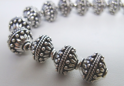 Bali Style Bead - 11mm - 18 beads - .999 Pure Silver Over Copper<br>SCBK93