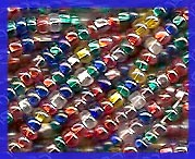 12 Strands Silver Lined Mixed Colors Aurora Borealis 11/0