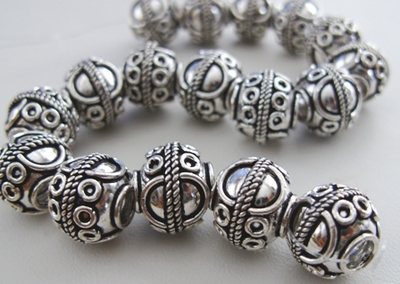 Bali-Style Large-Hole Bead - 17 Beads - 12mm - .999 Pure Silver Over Copper<br>SCBK30