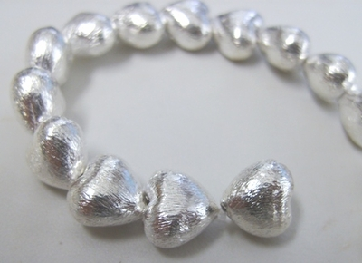 Brushed Silver Heart Bead - 12mm - 19 Beads - .999 Silver Over Copper<br>SCBKSP120