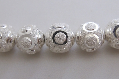Round Diamond Style 1-Cut Bead - 12mm - 18 Beads - .999 Silver Over Copper<br>SSCC01