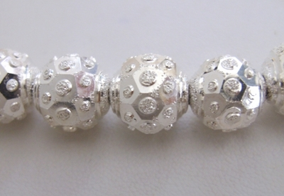 Round Diamond Style 3-Cut Bead - 12mm - 18 Beads - .999 Silver Over Copper<br>SSCC03