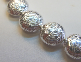 Bright Silver Floral Embossed Bead - 13mm - 14 Beads - .999 Silver Over Copper<br>SCBK92